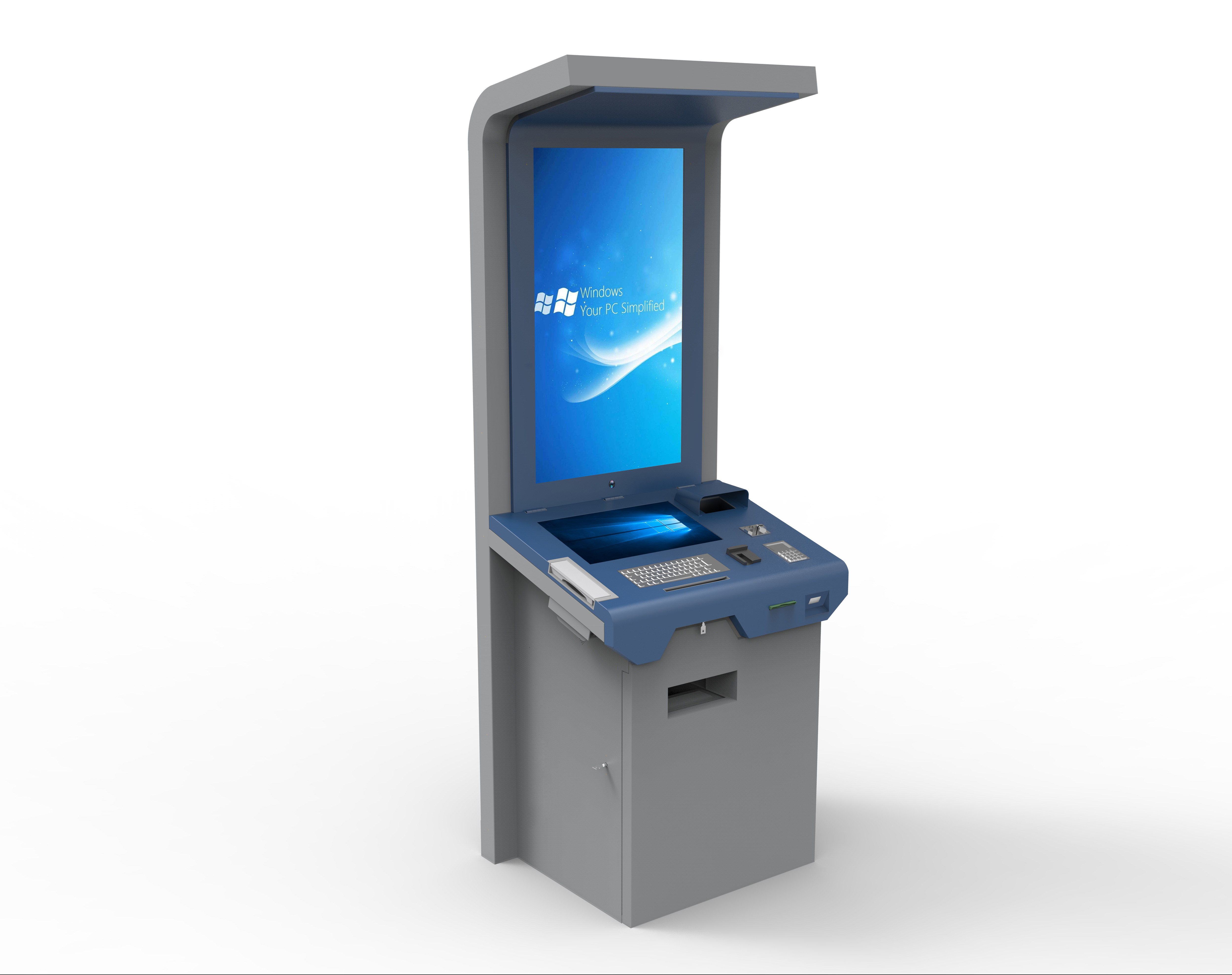 Ticketing Printing Free Standing Touch Screen Kiosk Self Service 1 Year Warranty