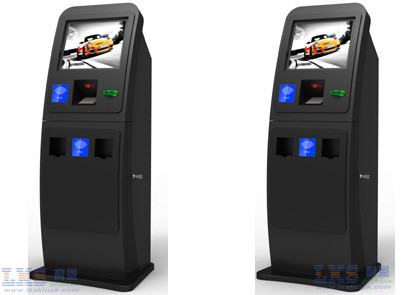 Black ATM Kiosk With Touch Screen Computer Pinpad Cash Acceptor Receipt Printer