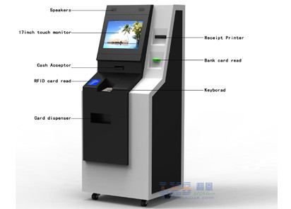 Android Payment Terminal Atm Kiosk for business With A4 Printer , Cash Acceptor