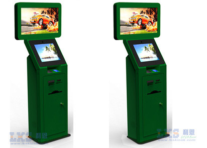 Ticket Dispenser Dual Screen Kiosk With Barcode Scanner Self Service Terminal